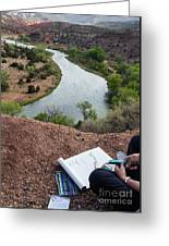 Artist At Rio Chama Overlook 1 Abiquiu Nm Greeting Card