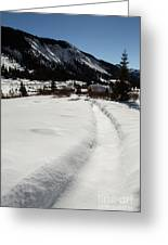 Artist Cabin Snowy Pathway Greeting Card