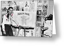 Artist Chuck Amesbury Aka Chuck Waggin Cartoon Corral Kvoa Tv Circa 1962-2013 Greeting Card