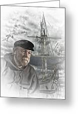 Artistic Digital Image Of An Old Sea Captain Greeting Card