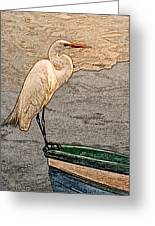Artistic Egret And Boat Greeting Card