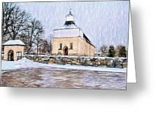 Artistic Presentation Of #svinnegarns #kyrka #church Of #svinnegarn March 2014 Viewed From The Parki Greeting Card