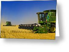 Artists Choice Two Combine Harvesters Greeting Card