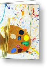 Artists Easel And Splatter Greeting Card