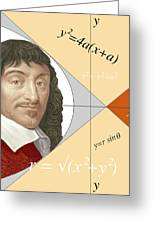 Artwork Of Rene Descartes With Equations And Lines Greeting Card