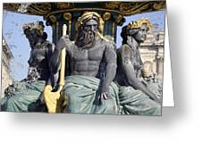 Artwork On The Public Fountains At Place De La Concorde In Paris France Greeting Card