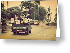 Arusha. Tanzania. Africa. A Group Of Young Men Celebrating Their Graduation Greeting Card