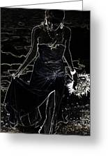 As Aphrodite Coming From Sea Foam. Black Art Greeting Card by Jenny Rainbow