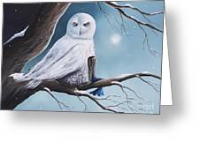 White Snow Owl Painting Greeting Card
