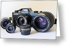 Asahi Pentax Auto 110 Mini Camera And Lenses Greeting Card by Melany Sarafis