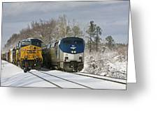 Ashland Trains In The Snow Greeting Card