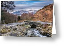 Ashness Bridge And Snow Capped Skiddaw Greeting Card