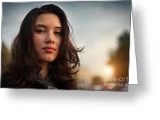 Asian Beauty Girl Greeting Card