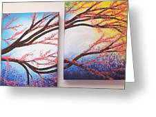 Asian Bloom Triptych 2 3 Greeting Card
