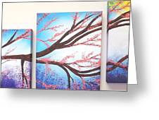 Asian Bloom Triptych Greeting Card