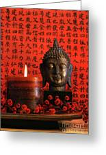 Asian Candle With Red Orential Background Greeting Card by Sandra Cunningham