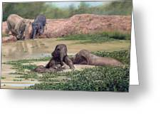 Asian Elephants - In Support Of Boon Lott's Elephant Sanctuary Greeting Card