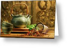Asian Herb Tea Greeting Card by Sandra Cunningham