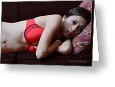 Asian Model In Red Bra Greeting Card