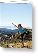 Asian Woman Practicing Yoga Outdoors Greeting Card