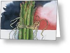 Asparagus In Raffia Greeting Card
