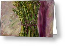 Asparagus Wrapped In A Bow Greeting Card by Barbara Pirkle