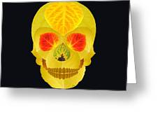 Aspen Leaf Skull 4 Black Greeting Card