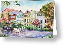 Assault And Battery On Rainbow Row Greeting Card