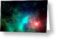 Asteroid Zips By Orion Nebula Greeting Card
