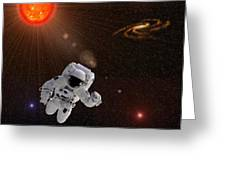 Astronaut And Sun With Stars Greeting Card