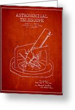 Astronomical Telescope Patent From 1943 - Red Greeting Card