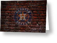 Astros Baseball Graffiti On Brick  Greeting Card by Movie Poster Prints