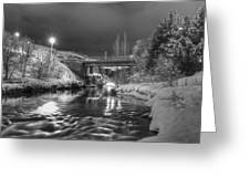 At Night By River. Greeting Card