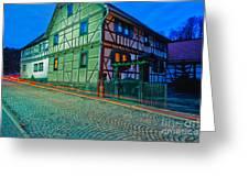 At Night In Thuringia Village Germay Greeting Card