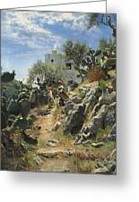 At Noon On A Cactus Plantation In Capri Greeting Card