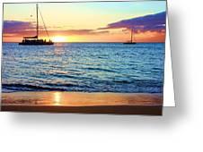 At Sea Sunset Greeting Card