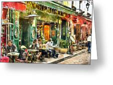 At The Restaurant In Paris Greeting Card