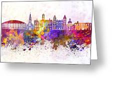 Athens - Oh Skyline In Watercolor Background Greeting Card