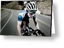 Athletic Male High Speed Cycling Greeting Card