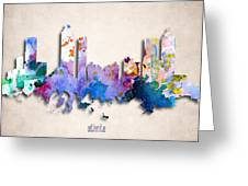 Atlanta Painted City Skyline Greeting Card