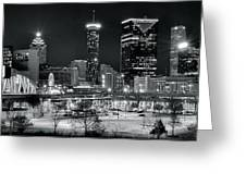 Atlanta Panoramic Black And White Greeting Card