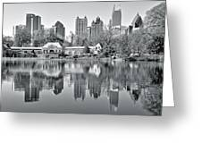 Atlanta Reflecting In Black And White Greeting Card