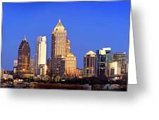 Atlanta Skyline At Dusk Midtown Color Panorama Greeting Card