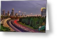 Atlanta Sundown Night Lights Art Greeting Card