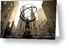 Atlas At Rockefeller Center Back Side Greeting Card