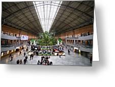 Atocha Railway Station Interior In Madrid Greeting Card