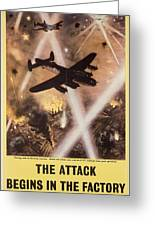 Attack Begins In Factory Propaganda Poster From World War II Greeting Card