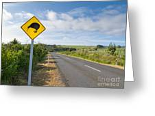 Attention Kiwi Crossing Roadsign At Nz Rural Road Greeting Card