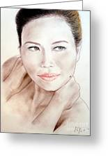 Attractive Asian Woman With Her Hair Pulled Back Greeting Card