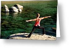 Attractive Woman Doing Yoga Greeting Card